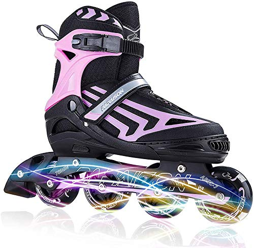 Iturnglow boys adjustable inline skates for kids and adults with full light up led wheels, outdoor blades roller skates for girls,woman, men and women pink size