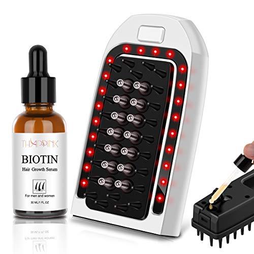Biotin Hair Growth Kit LED Hair Growth Comb Brush Biotin Hair Regrowth Serum for Hair Loss, Scalp Massage Hair Regrowth Brush Treatment for Men and Women