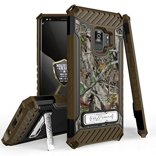 Beyond Cell Tri Shield Case for Samsung Galaxy S9, Military Grade Drop Tested [MIL-STD 810G-516.6] Kickstand Phone Case - (Camo)