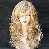 Kalyss weibliche lange lockige wellige hitzebeständige blonde mit Strähnen Perücke synthetische volle Haar Perücke für Frauen(Blond mit Strähnen)