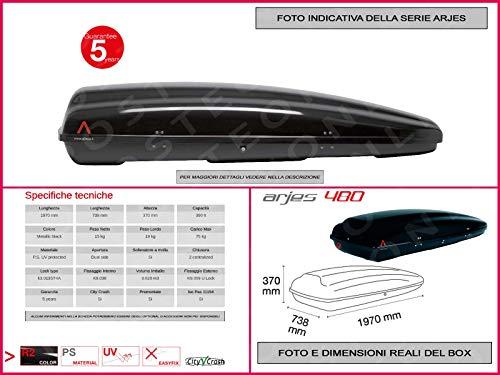 Proposteonline portabagagli Box Tetto Auto 197 x 73 x 37 cm per Nissan Qashqai 2007 > con Barre Portapacchi portatutto jw41th