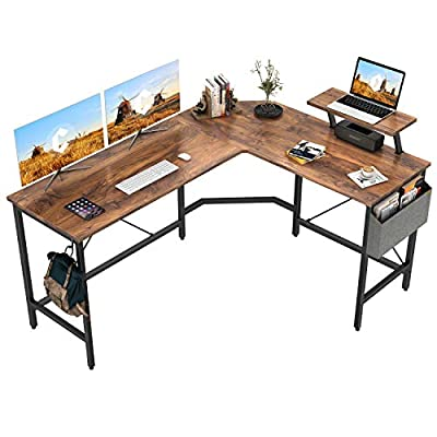 Cubiker Modern L-Shaped Computer Office Desk, Corner Gaming Desk with Monitor Stand