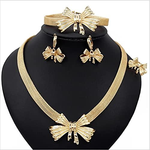 GDYJP 4 Piezas Collar de Anillo de Brazalete Colgante Pendiente Juego de Joyas para Las Mujeres Conjuntos de joyería de Novia Nupcial