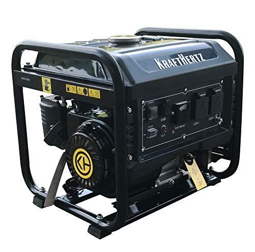 KRAFTHERTZ 3300 Watt Benzin-Inverter Stromgenerator mit 230 Volt (2X USB Anschlüsse, 2X 230 Volt, 68 dB, 10L Benzin-Tank, Smart Ladestation, Gewicht 28 kg)