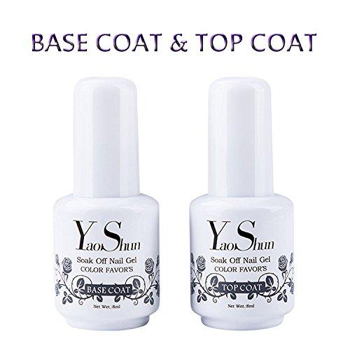 Top Base Coat Semi Permanent - Y&S UV LED Vernis à Ongles Top Coat Vernis Gel et Base Coat Vernis Semi Permanent Soak Off Nail Polish 2 x  8ml