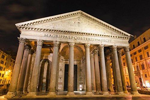 Pantheon Roman Temple Rome Italy Illuminated at Night Photo Photograph Cool Wall Decor Art Print Poster 36x24