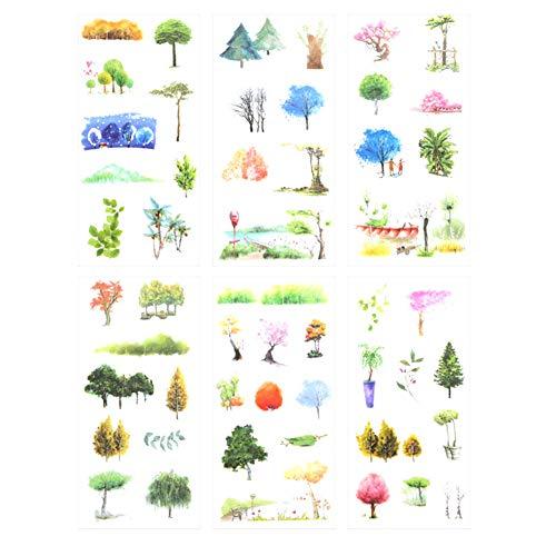 CAOLATOR 6 Blatt Sticker Baum Aufkleber Kinder Mädchen PVC Deko Spielzeug für Stickerbuch Tagebuch Fotoalbum Notizbuch Kalender Dekoration Scrapbooking