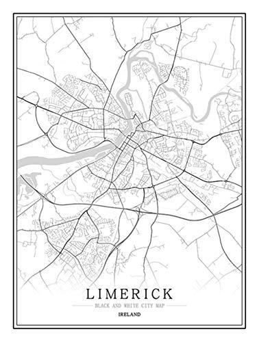 Feidazh Impresión en Lienzo Irlanda Limerick Cuadro en Lienzo Modernos Mapa de la Ciudad Cuadro sobre Lienzo Blanco y Negro Pinturas Murales Arte Cuadro Decoracion para Salon Dormitorio 30x40cm