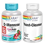 Solaray D-Mannose w/ CranActin Cranberry Extract 1000mg & Yeast-Cleanse Bundle | Healthy Cleansing Support | 150, 180ct
