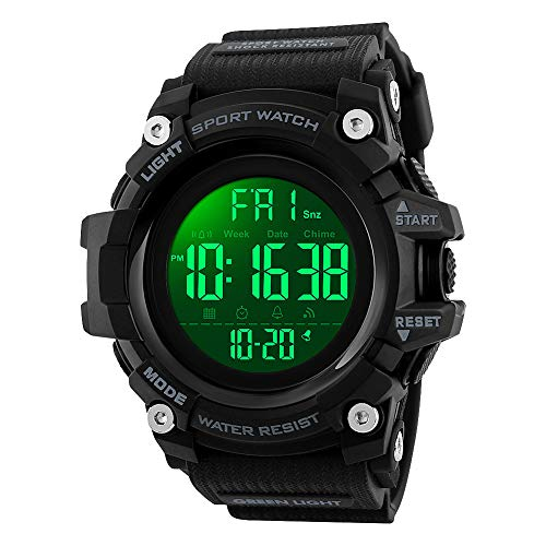 Mens Watches, Waterproof Military Dightal Watch with Calendar Chronograph Countdown Timer Alarm LED Backlight Running Sports Watch (Black)