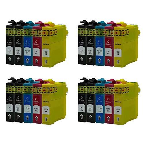 ZYL - Cartuchos de tinta para Epson T1291-T1294 (T1295), color negro, no originales (20 unidades, para Epson T1291-T1294, T1295), Stylus Office B42WD BX305F BX305FW BX305FW Plus BX320FW BX525WD BX535WD BX625FWD BX630FW BX635FW BX925FWD BX925FWD BX925FWD 230