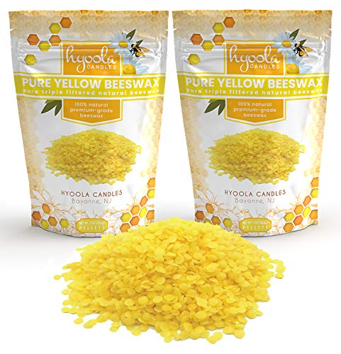 Hyoola Yellow Beeswax Pellets - 100% Natural - Premium Cosmetic Grade - Pure Beeswax Pellets - 2 Pound - Triple Filtered Easy Melt Bees Wax Pastilles