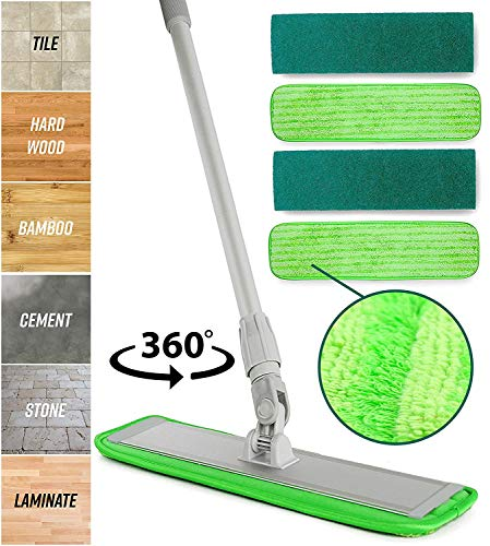 Microfiber Mop Floor Cleaning System - Washable Pads Perfect Cleaner for Hardwood, Laminate &...