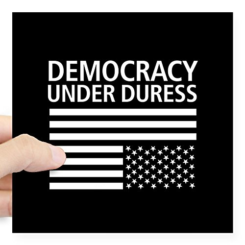 CafePress Democracy Under Duress ??? Square Sticker 3 X 3 Square Bumper Sticker Car Decal, 3'x3' (Small) or 5'x5' (Large)