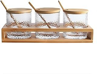 3 Morceaux de Pot à épices en Verre Pot à épices de 30,4 oz Support de Couvercle en Bambou et cuillère café de Cuisine, bo...