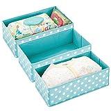 mDesign Juego de 3 Cajas de almacenaje para habitación Infantil o baño – Cesta organizadora con Estampado de Lunares – Organizador de armarios en Fibra sintética – Azul Turquesa/Blanco