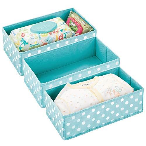 mDesign boîte de Rangement pour Chambre d'Enfants, Salle de Bain, Armoire, etc. (Lot de 3) – Module de Rangement en Fibre synthétique – boîte en Tissu avec Motif à Pois – Bleu Turquoise et Blanc