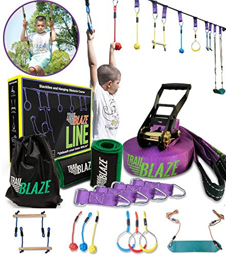 TrailBlaze Ninja Warrior Obstacle Course for Kids - 50ft Slackline w/ Monkey Bars Bonus Seat Swing Gym Rings   More Obstacles w/ Adjustable Positions - Perfect Ninja Course Training
