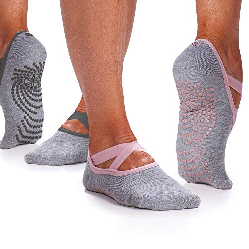 Gaiam Yoga Barre Socks | 2 Pack | Non Slip Sticky Toe Grip Accessories for Women amp Men | Pure Barre Yoga Pilates Dance | One Size Fits Most Folkstone