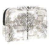 Bolsa de maquillaje portátil con cremallera bolsa de aseo de viaje para las mujeres práctico almacenamiento cosmético bolsa depresión árboles