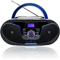 LONPOO Radio CD / MP3 Portátil Reproductor de CD con Bluetooth/ FM/ USB/ AUX-IN/ Salida de Auriculares/ 4W Estéreo Altavoz (Negro 02)