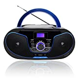 Lectores de CD portátiles,Radio CD / MP3 Portátil Reproductor CD con Bluetooth/FM/USB/AUX-IN/Salida de Auriculares/Estéreo Altavoz (LP-D02)