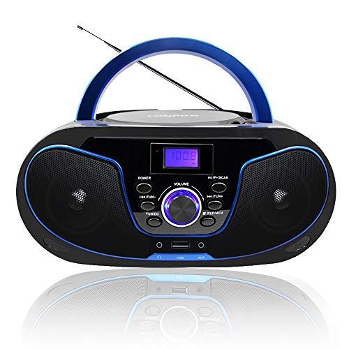 Radio portatili Boombox, LONPOO Lettore CD Bambini Stereo Audio con Bluetooth,USB, AUX-IN, Uscita cuffie (Nero 02) (Nero+Blu)