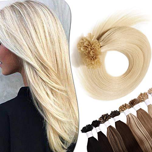 SEGO Extension Capelli Veri Cheratina Biondi 100 Ciocche 50g #60 Biondo Platino 40cm - 100% Remy Human Hair Biondi