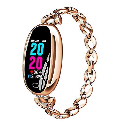 KLJHMAP Smart Watch, Health Monitoring Erinnerung Informationen Drücken mit Farbe wasserdichte Schirm für Frauen Schmuckuhren (mit Geschenk-Box),Gold