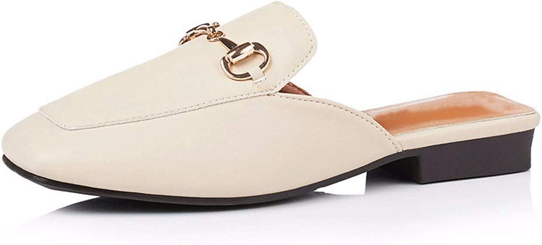 Vierkpfige Halbpantoffeln Sommer Neue Leisure Low -Heeled Sandals Back Lazy schuhe Bundlehead Slippers
