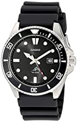 Black Stainless Steel case and Resin Band Black Dial with date window at 3 O'clock Luminous markers and hour hands; sweep second hand Anti-reverse bezel Water-resistant to 200 M (660 feet)