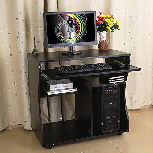 Zerone Mesa para PC, Material de Tablero de aglomerado móvil para Escritorio de Oficina con Ruedas en la Parte Inferior para Oficina para Estudio