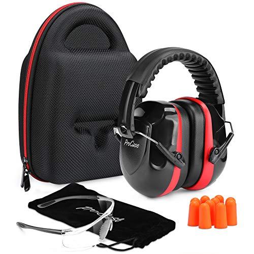 Procase Casco Insonorizado Protector de Oído + Gafas Protección + Tapones para Los Oídos + Estuche Rígido de EVA, Accesorios para Protección de Tiro Campo de Disparo y Temporada de Caza -Rojo Negro