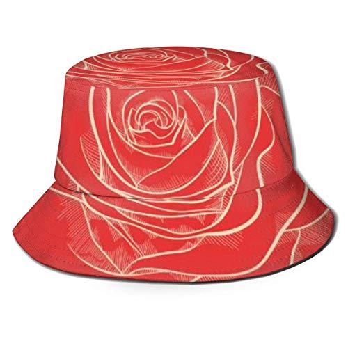 Dale Hill Gorras Rosa roja en un Estilo gráfico Sombrero de Pescador Sombrero de Playa de Pescador Sombrero de Cubo para Camping, Picnic