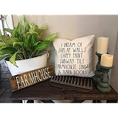 I Dream of Shiplap Walls, Chippy Paint, Subway Tile, Farmhouse Sinks, Barn Doors, Magnolia, Rae Dunn Throw Pillow Cover