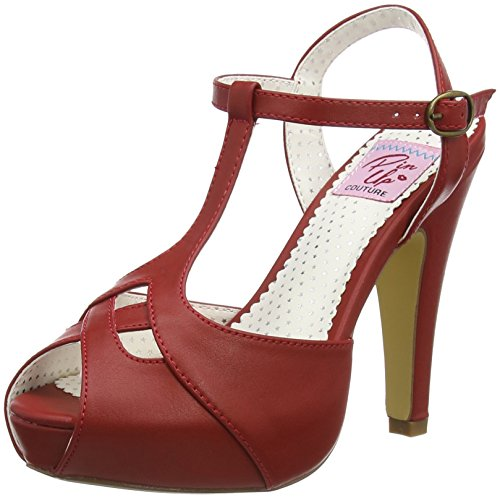 Pinup Couture Damen BETTIE-23 Offene Sandalen, Rot (Red Faux Leather), 36 EU