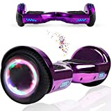 Wind Way Hoverboard 6,5' - Moteur 700W - Parleur Bluetooth - Self Balancing Scooter Tout Terrain Adulte - Skateboard LED - Gyropode Bonne Qualité - Enfant SmartBoard Pas Cher - Violet Chromé