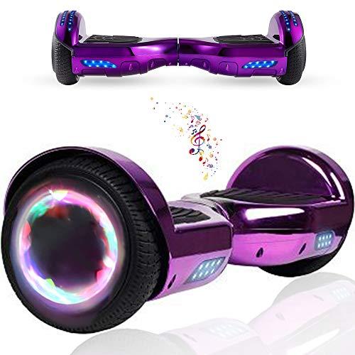 """Wind Way Hoverboard 6,5"""" - Moteur 700W - Parleur Bluetooth - Self Balancing Scooter Tout Terrain Adulte - Skateboard LED - Gyropode Bonne Qualité - Enfant SmartBoard Pas Cher - Violet Chromé"""