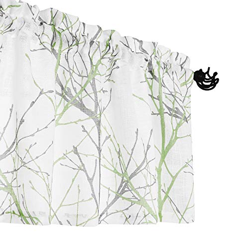 """FMFUNCTEX Kitchen Valance Curtain for Bedroom Green and Grey Branch Print on Linen Texture Look Window Valance for Living Room 50"""" W x 18"""" L, 1 Panel, Rod Pocket"""