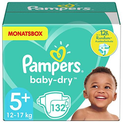Pampers Größe 5+ Baby Dry Windeln, 132 Stück, MONATSBOX, Für Atmungsaktive Trockenheit (12-17kg)