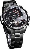 QHG Reloj de Pulsera mecánica automática de Moda Relojes Militares a Prueba de Agua a Prueba de Agua para Hombres Reloj Masculino de Acero Inoxidable Negro