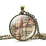 SWAOOS Mapa Vintage Mapa Collar Ciudad Santa para Judíos Cristianos Y Musulmanes Accesorios Vidrio Cúpula Nevera Imán Regalo Recuerdo