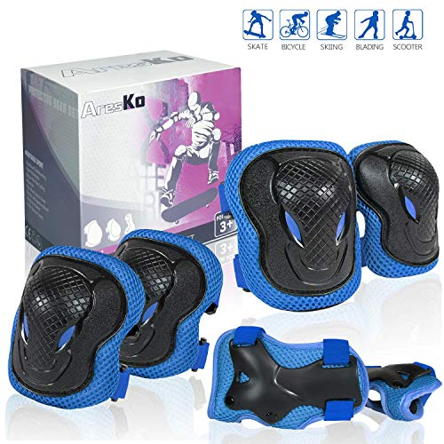 AresKo Knieschoner Kinder, Inliner für Kinder Protektoren Knieschützer Set, 6 in 1 Ellenbogenschoner Handgelenkschoner Schutzausrüstungen Set-S