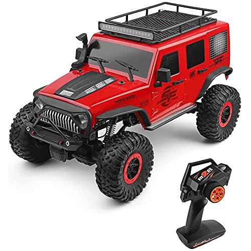 Weaston Coche de WLtoys RC, Camión RC a Escala 1/10 Coche teledirigido de 2.4Ghz, Motor 550 Cepillado Vehículo Buggy de Escalada Todoterreno 4WD RTR para niños y Adultos Rojo