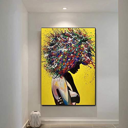 GUDOJK Impresión de Lienzo Decorativo Graffiti Moderno Arte de Pared Impresiones en Lienzo Arte Pop Abstracto Chicas Acuarela Lienzo Pinturas en la Pared imágenes para decoración del hogar-40x60cm