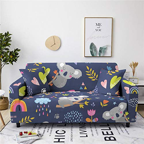 Stretch Sofa Couch Covers Elastic Fabric Cartoon Kola Pattern All-Inclusive Loveseat Cover Anti-Slip Tight Wrap Settee Slipcover For Furniture Decor,2,Seat 145,185cm
