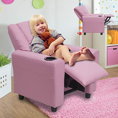 HZLAGM Kids Recliner for Boys & Girls, Easy-Clean Breathable Leather Toddler Recliner Chair with Cup Holder, Headrest and Footrest-Pink