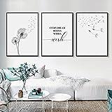 Lienzo minimalista, cuadros de pared de diente de león, decoración moderna para el hogar, cartel de pared con letras, pintura artística en blanco y negro, 60X80cmX3pcs sin marco