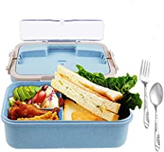 Bento Box for Kids with Hidden Handle - Bento Lunch Box For Adults Children - Durable, Leak-Proof for On-the-Go Meal, BPA-Free and Food-Safe Materials(Spoon & Fork (blue)