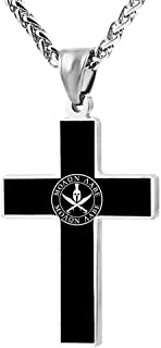 Spartan Warrior Molon Labe Fashion Printed Cross Necklace Cross Prayer Christ Necklace Pendant 24 Inch Crucifix Pray Ornaments Unisex